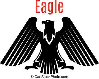 örn, heraldisk, underteckna, vektor, svart, gotisk, ikon