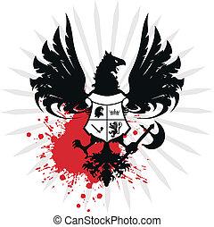 örn, heraldisk, vapen, täcka