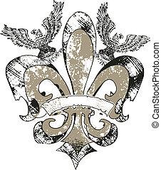 örnar, av, emblem, läsidor, fleur