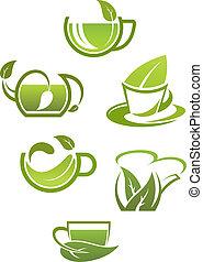 ört te, bladen, kuper, grön