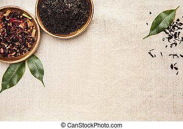 örtar, planterar, och, bladen, använd, in, kinesisk medicin