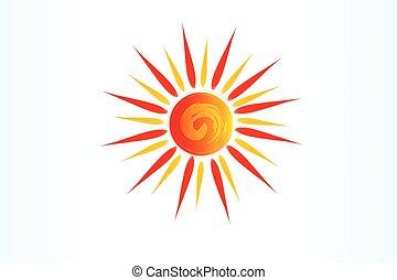 örvény, jel, ikon, nap