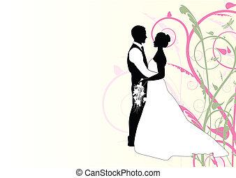 örvény, párosít, esküvő