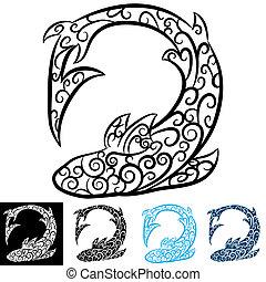 örvény, tetovál, cápa