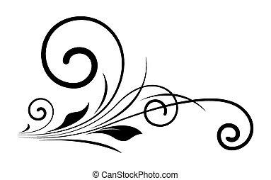 örvény, virágos, alakít, fekete