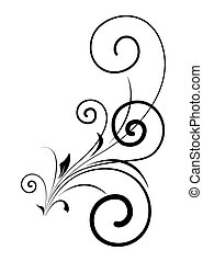 örvény, virágos, alakít, vektor, tervezés