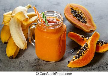 összefut., papaya, smoothie, diéta, táplálék., detox, szelektív