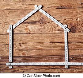összehajt vonalzó, alakítás, egy, épület, képben látható, wooden asztal