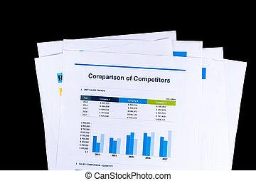 összehasonlítás, okmányok, versenytárs, hivatal, ügy, concept., analízis, kutatás, háttér, fekete, hajópapírok, ív, piac
