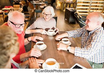összejövetel, együtt, idősebb ember, kávéház, barátok, boldog
