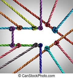 összeköttetés, siker, nyíl