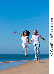 összekapcsol jár, és, futás, képben látható, tengerpart