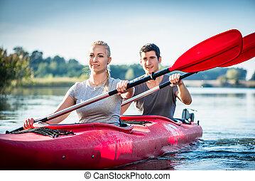 összekapcsol kayaking, együtt, képben látható, tó