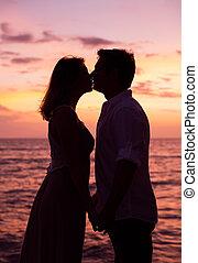 összekapcsol megcsókol, -ban, napnyugta