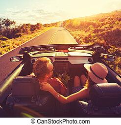 összekapcsol naplemente, convertable, vezetés