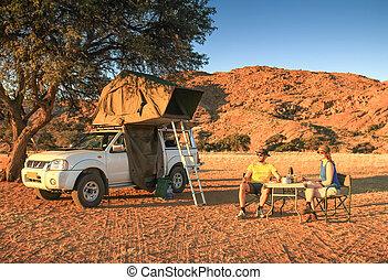 összekapcsol sátortábor, alatt, dezertál, birtoklás, vacsora., narancs, napnyugta, napkelte, light.