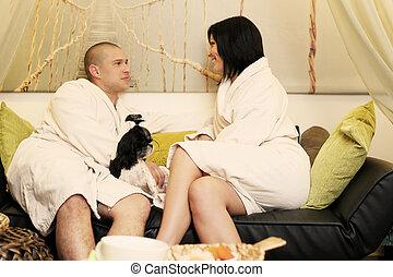 összekapcsol spa, fogadószoba