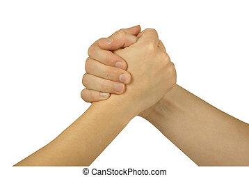összekapcsolt, 2 kezezés