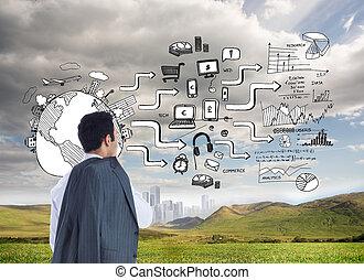 összetett, álló, kép, üzletember