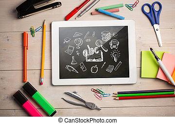 összetett, diákok, íróasztal, digital tabletta, kép
