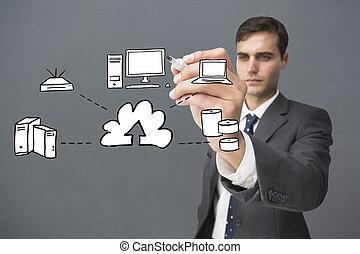 összetett, grafikus, írás, üzletember, kép