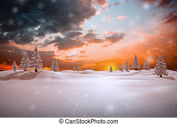összetett, havas, táj, kép