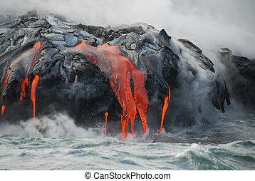 összetett, lava folyik, óceán, gőz,