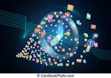 összetett, színpompás, alkalmazásokat, kép, számítógép