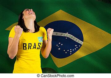 összetett, trikó, izgatott, brasil, foci rajongó, kép