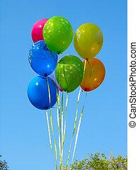 összeverődik of, színezett, fél, léggömb, ellen, kék ég