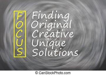 összpontosít, betűszó, egyedülálló, megoldások, lelet, eredeti, kreatív