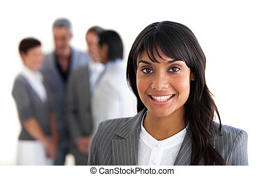 összpontosít, képben látható, egy, mosolygós, menedzser