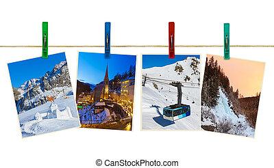 österreich, berge, ski, photographie, auf, wäscheklammern