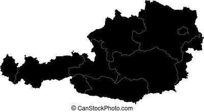 österreichkarte, schwarz