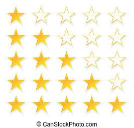 öt, minőség, csillaggal díszít