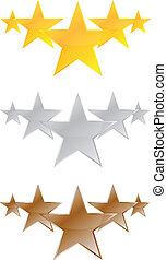 öt, termék, minőség, csillaggal díszít