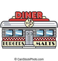 ötvenesek, művészet, étkezőkocsi, csíptet, 1950s