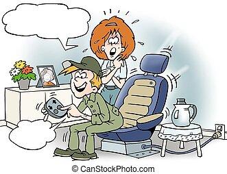 övé, ülés, autó, ábra, ülés, szerelő, karikatúra