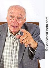 övé, ülés, karosszék, öregedő, magabiztos, furfangos, ember