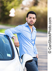 övé, autó, sofőr, fiatal, elhelyezett, amerikai, latin, új, ...