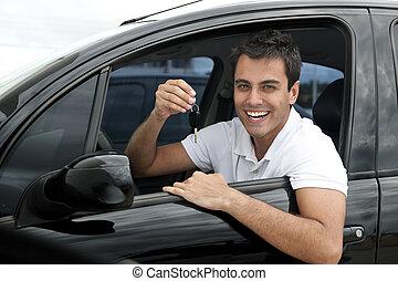 övé, autó, spanyol, új, boldog, ember
