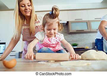 övé, cookies., gyermek, guba, anya, készülődik