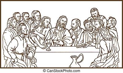 övé, eltart, krisztus, jézus, discplles, megváltó, vacsora