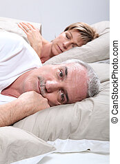 övé, feleség, amikor, alvás, felébreszt, ember