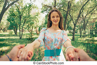 övé, feleség, hatalom kezezés, boldog, ember