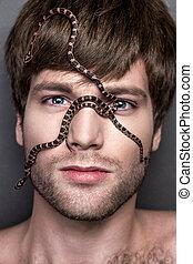 övé, fiatal, arc, kígyó, portré, jelentékeny, ember