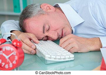 övé, hivatal, modern, alvás, fényes, íróasztal, ember