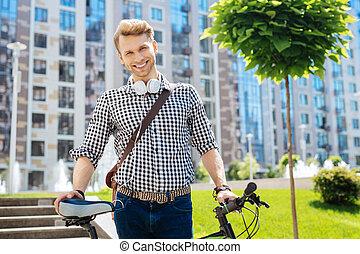 övé, kellemes, bicikli, birtok, kedves, ember