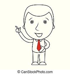 övé, lényeg feláll, tapogat, üzletember, egyenes, karikatúra