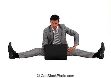 övé, laptop, elterjed, használ, üzletember, hazardőr külön